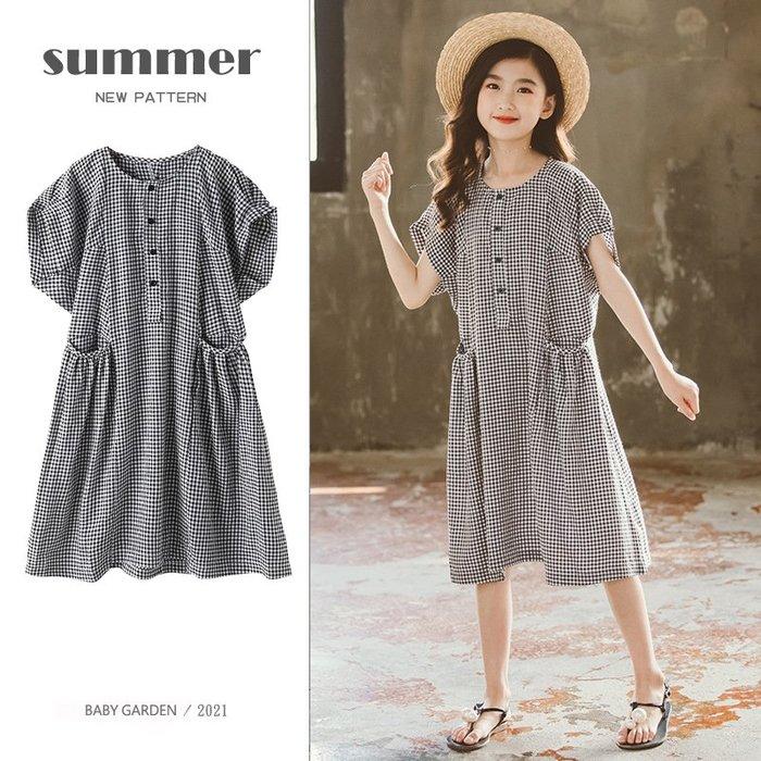 【TF5601】✿寶貝花園✿ 2021夏季新品 女童 中大童 短袖雙口袋格子 公主裙 連衣裙 洋裝