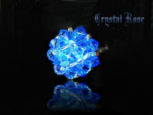 ※水晶玫瑰※ SWAROVSKI 水晶戒指~寶藍(HAND10)