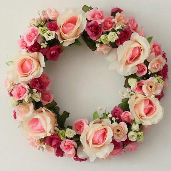 粉紅玫瑰精品屋~韓式高檔仿真門楣花環家居壁飾~