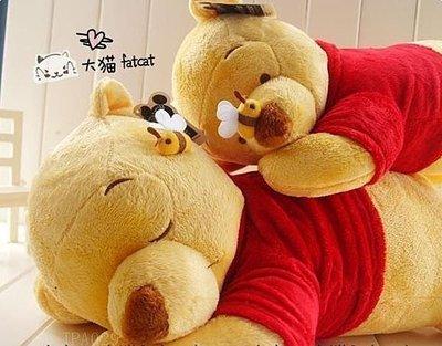 轉角微笑迪士尼睡姿維尼熊與蜜蜂趴趴熊抱枕 毛絨玩具/午睡枕 大號 JPA029 小熊維尼 送女友老婆的最佳禮品,生日禮