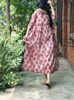 【子芸芳】高品質飄逸超細絲麻 顯瘦高腰文藝寬鬆印花連衣裙