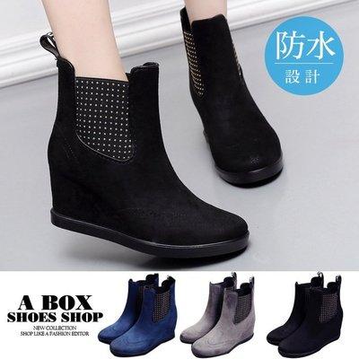 格子舖*【KNR300】7CM厚底內增高楔形 防水PVC 短筒雨鞋防滑膠底休閒雨鞋 2色