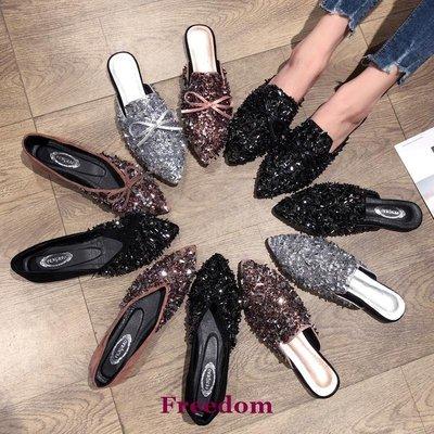 Freedom女鞋鞋子女2019夏季新款豆豆鞋正韓外穿時尚網紅同款水鉆包頭懶人涼拖