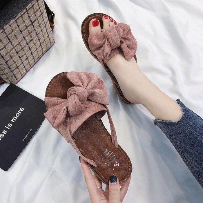 2019新款時尚百搭平底人字網紅半拖鞋穆勒外穿外出夾腳沙灘涼鞋女