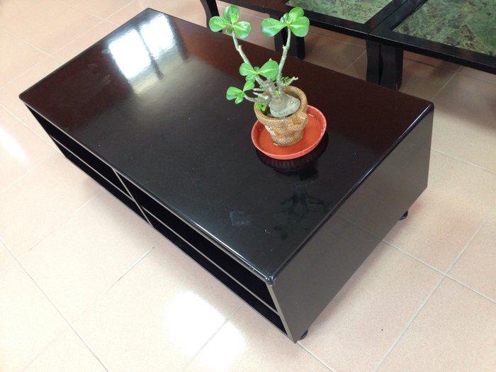 原木 鋼琴鏡面烤漆 大茶几 (黑色)
