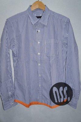 特價「NSS』SOPHNET SOPH END PIPING REGULAR COLLAR SHIRT 條紋長袖襯衫 M