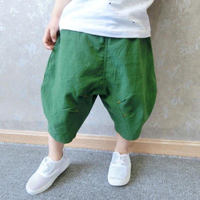 兒童夏裝棉麻闊腿褲燈籠褲男童哈倫褲寶寶褲子小童外穿短褲夏款潮