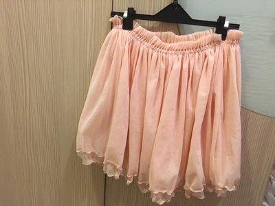 小花別針、專櫃日系品牌【NICE CLAUP】甜美粉色雪紡紗裙