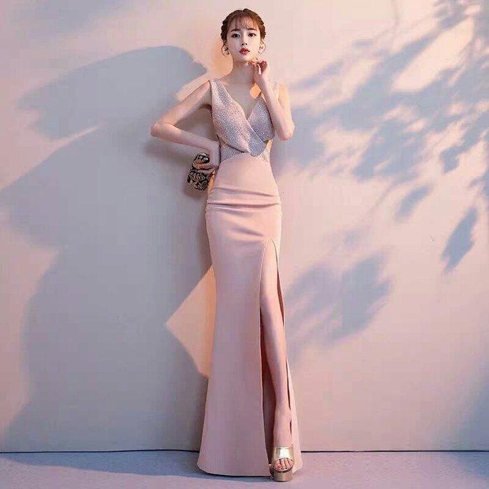 天使佳人婚紗禮服旗袍~~粉色魚尾露腰晚禮服