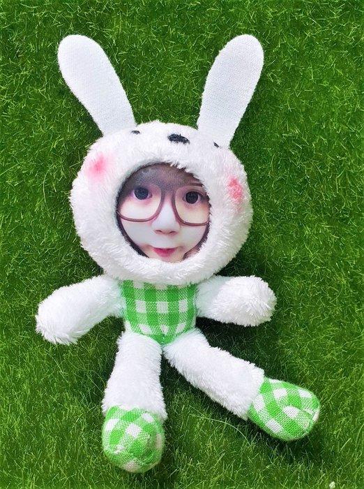 6CM 綠格紋兔 變裝娃娃 手機吊飾鑰匙圈-高雄瑞豐夜市姓名貼紙相片變臉娃娃友生日/紀念/耶誕/創意禮物