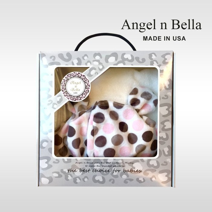 ☆°Angel n Bella.╯☆°【美國製】頂級時尚動物紋連帽浴巾手帕禮盒組-糖果粉(彌月禮/生日禮)