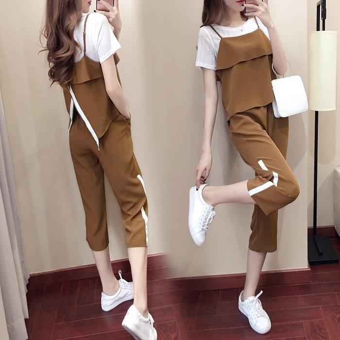 兩件式 套裝 組 正韓版套裝女夏季2018新款時尚韓版春裝運動氣質休閑小清新闊腿褲兩件套8-16