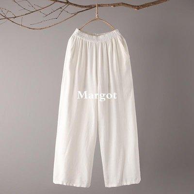 [Margot]時尚原創 春季新款女裝闊腿褲 文藝松緊腰純色棉麻休閑褲Y138025