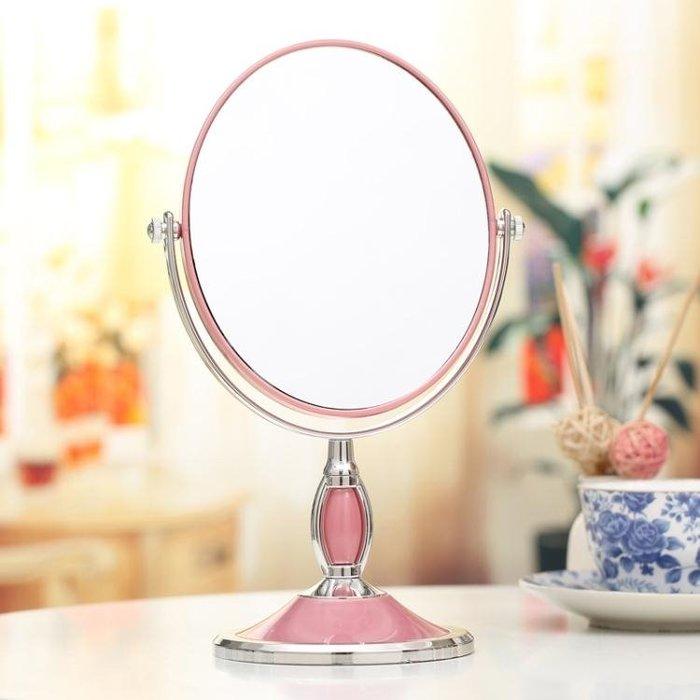 台式化妝鏡歐式鏡雙面梳妝鏡便攜結婚公主鏡3倍高清放大台鏡 【安可居】