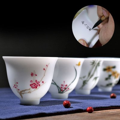 璃༤ོ陶瓷手繪復古粉彩杯品茗杯個人杯功夫茶具小茶盞LL-67