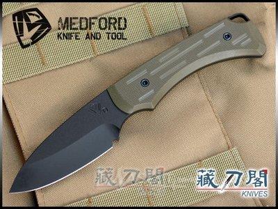 《藏刀閣》MEDFORD-(Colonial)殖民主義-綠色G10柄黑刃直刀
