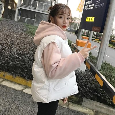 [Margot]冬季韓版寬松假兩件拼色短款棉衣學生連帽加厚保暖棉服外套女