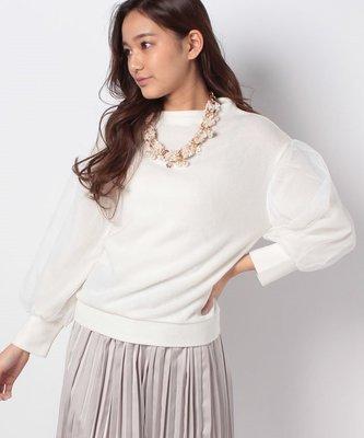 一月折扣季連線 日本 axes femme 拼接袖薄紗一字領刷毛上衣 附彩色毛呢珍珠項鍊