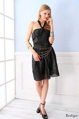 【Barligio】希臘女神.纏繞肩帶.露背洋裝-性感黑