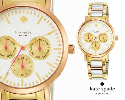 Kate Spade ►Grand multifunction ( 金色×玫瑰金色×銀色) 腕錶 手錶 中性錶|100%全新正品|特價!