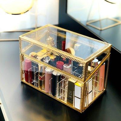 Ordinary shop 新款口紅收納金古桃心40格包邊透明玻璃防塵帶蓋增高唇釉口紅一體盒收納用品