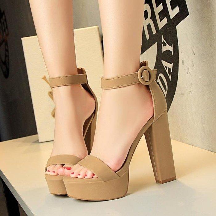 夏季歐美粗跟超高跟涼鞋女鞋絨面防水台一字扣女涼鞋性感