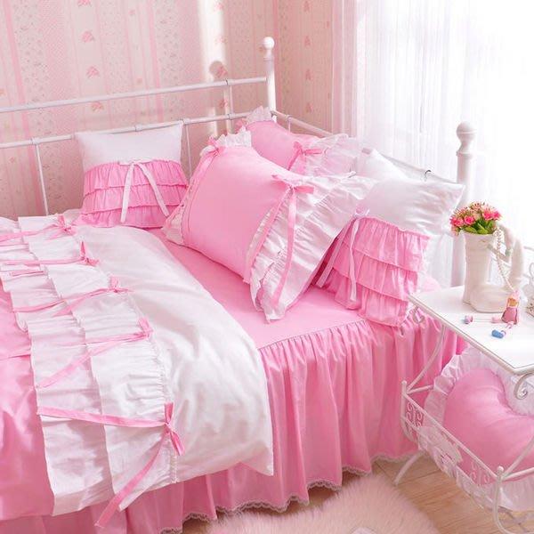 粉紅玫瑰精品屋~韓式公主床上用品蕾絲床裙全棉四件套~現貨+預購