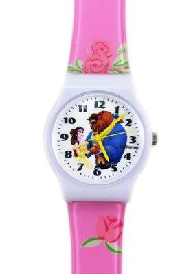 【卡漫迷】 美女與野獸 卡通錶 ㊣版 貝兒 Belle and Beast 王子 手錶 兒童錶 女錶 膠錶 公主 迪士尼