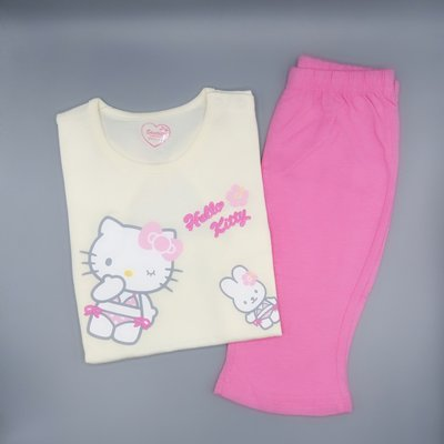 GIFT41 4165本通 長安店 kitty 粉黃上衣+桃紅褲 短袖套裝 90cm K9A417Y