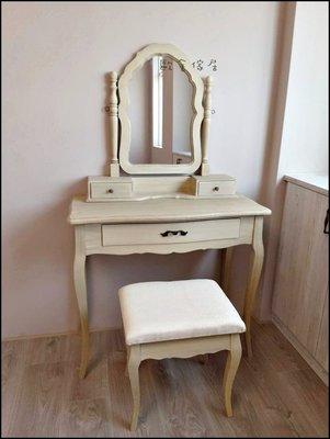 復古仿舊木製化妝桌椅化妝鏡組 白色刷舊...