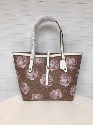 品牌折扣館 美國正品代購 COACH 31700 新款大花朵印花女士肩背包 側肩購物包 大容量手提包 附購買證明