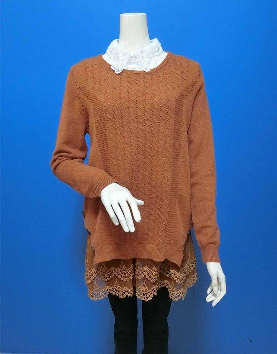 經典款|圓領勾洞蕾絲假兩件長袖毛衣(現貨F04501