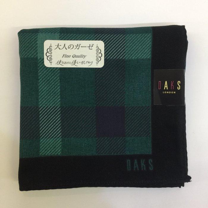 ☆注目の日本製DAKS 新款綠格紋DAKS字樣手帕/領巾☆