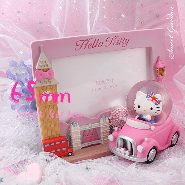 Sweet Garden, Hello Kitty倫敦水晶球相框(免運) 燈光效果 粉紅老爺車 雙層巴士 英倫風情