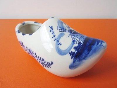 【HOLLAND】荷蘭 手繪代爾夫特藍白漆 BLUE DELFT 風車圖案 傳統木屐鞋 陶瓷擺飾 保證全新正品/真品