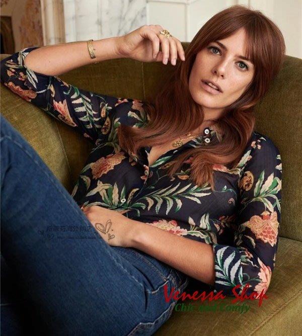 法國 SEAZANE 新款 專櫃同步 美麗如畫 法式風情花卉印花 輕柔舒適 微寬鬆真絲棉襯衫上衣 (K787)