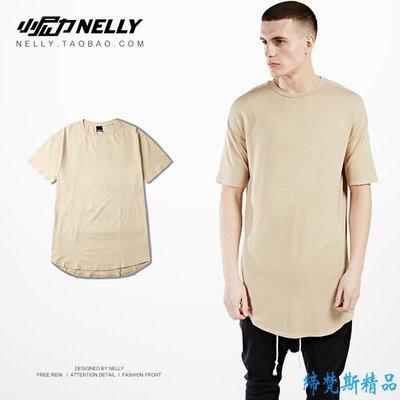 百搭同款men extend plain  高街 t-shirt長款短袖男T恤純色男女