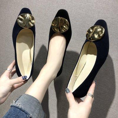 柒柒KR 正韓鞋子女2019新款絨面淺口鞋低跟單鞋女巴洛克金屬扣子復古百搭女鞋