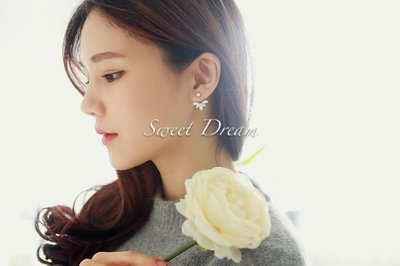 ☆Sweet Dream☆正韓名媛氣質閃亮羽翼水滴後掛2用水晶耳環90元 滿399免運