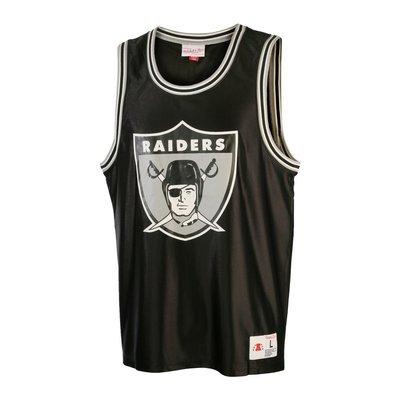 Cover Taiwan 官方直營 Mitchell&Ness NFL Raiders 突擊者隊 球衣背心 健身 黑色