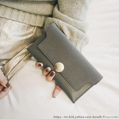 復砂撞色長款錢包 女士新款潮韓版百搭手拿包 零錢包大容量皮夾 日韓風小卡包 女士迷你錢包 可愛手拿皮夾