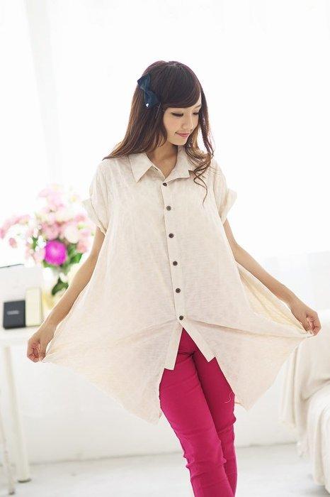 !中國藍Anewei不規則米色短袖棉襯衫/外罩/薄外套 萊爾富免運