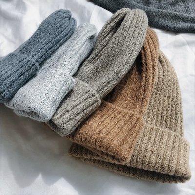 帽子 ins百搭多色純色毛線帽子女潮男秋冬保暖針織帽學生情侶