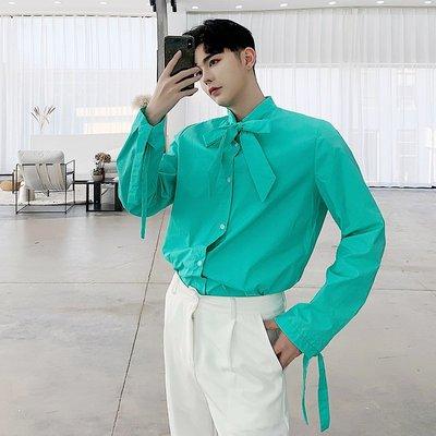 小眾男裝春季設計師款蝴蝶結袖口領結飄帶長袖襯衣潮牌男裝糖果色寬松襯衫
