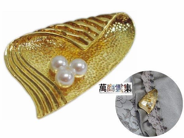 [萬商雲集] 母親節精選優質商品 三珍珠葉形胸針 別針