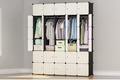 『格倫雅』麥田簡易衣櫃塑膠簡約現代經濟型組裝樹脂衣櫥布藝單雙人收納櫃子  果30門15掛^17501
