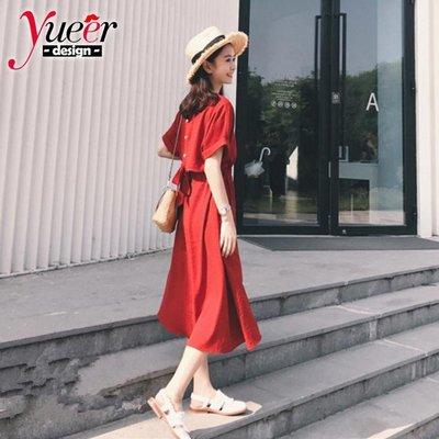 短袖洋裝S~2XL沙灘裙女三亞旅遊馬爾地夫海邊度假長裙泰國紅色連衣裙 連身裙 短袖連身裙