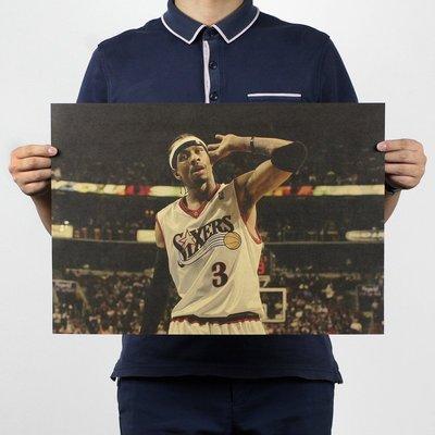 【貼貼屋】NBA 戰神 艾佛森 懷舊復古 牛皮紙海報 壁貼 店面裝飾 經典電影海報 316