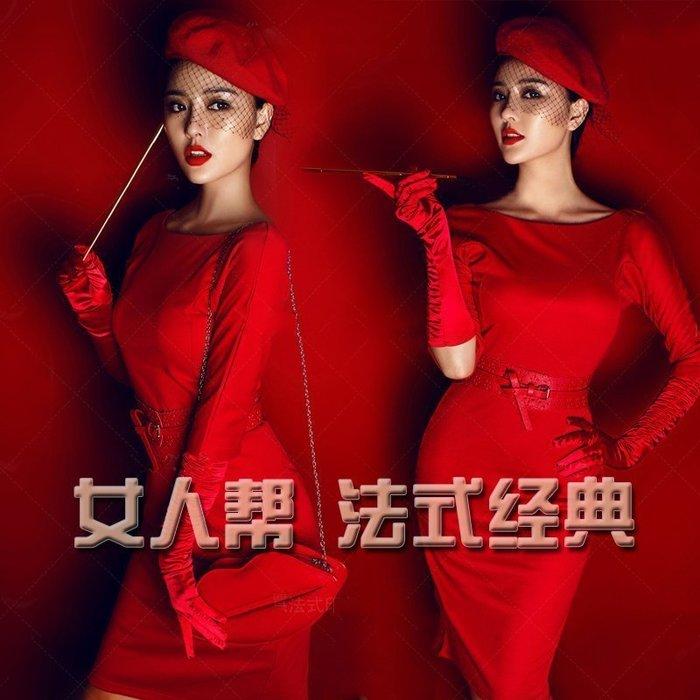 【優上精品】影樓婚紗攝影工作室時裝寫真服飾 大紅束身唯美攝影服裝(Z-P3214)