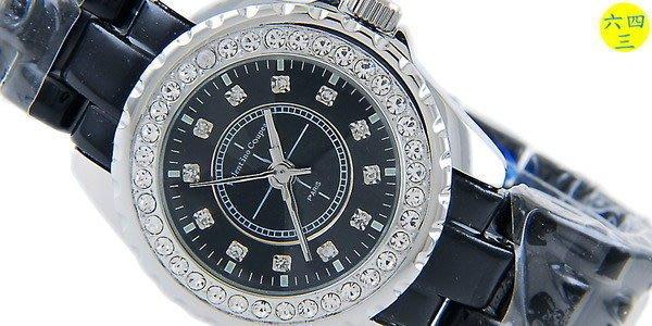 (六四三精品)3.7范倫鐵諾J12款式手錶.切割鏡面.蝴蝶錶扣.外框水鑽.黑!